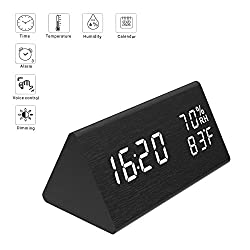 Micarsky Digital Alarm Clock, Wooden Led Alarm Clock with Triple Alarms Setting, 3 Levels Brightness, Dual Power, Dual Time (12/24) Mode, Voice Control, Temperature and Humidity LED Digital Displaying