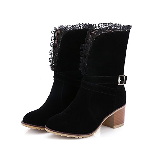 Pull Boots Imitated AgooLar Suede on Round Heels Solid Closed Black Kitten Toe Women's BYwZPwIq