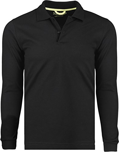 Marquis Men's Jersey Slim Fit Long Sleeve Golf Polo Knit, Large, Black