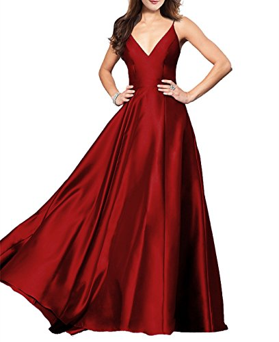 Lily Wedding Womens Spaghetti Strap V-Neck Prom Dresses 2018 Long A-line Formal Evening Party Ball Gowns GD48 Size 2 Wine Red ()