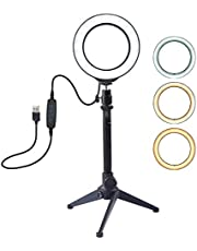 $79 » LED Ring Light with Tripod Stand, 200K-5500K Dimmable Table Camera Light Lamp 3 Light Modes & 10 Brightness Level for YouTube Video Photo Studio Live
