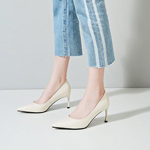 tonos beige de Shoes de alto 39 Transpirable punta ligera Sandalias delgada 8cm AJUNR Moda zapatilla Zapatos sola mujer 39 Heel con elegante qXfOf6