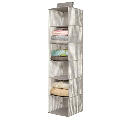 mDesign Long Soft Fabric Over Closet Rod Hanging Storage Organizer with 6 Shelves for Clothes, Leggings, Lingerie, T Shirts - Chevron Zig-Zag Print with Solid Trim - Taupe/Natural ()