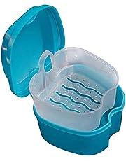 Kunstgebit Case Plastic Valse Tanden Baddoos Retainer Orthodontische Gebitsbeschermer Opslag Container Houder, Prothese Reinigingsdoos Met Filter (Lichtblauw)