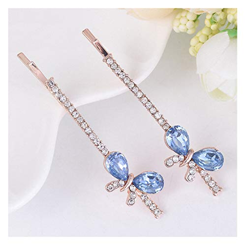 - Womens Cute Colorful Sparkliing Rhinestone Hair Accessories Hair Clips Jewelry Gold Tone Crystal Metal Butterfly Hair Pin Blue