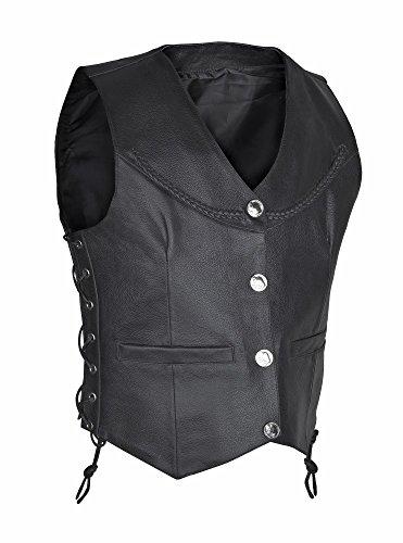 - Swiftwears Motorcycle Biker Red Vest Genuine Cowhide Leather Black Concealed Carry (Black, Medium)