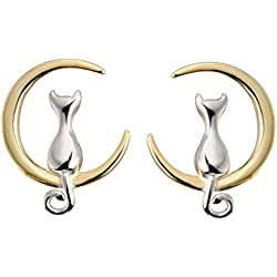 S.Leaf Cat on Moon Stud Earrings Sterling Silver Crescent Moon Cat Earrings Cat Lovers Gift (silver and gold)