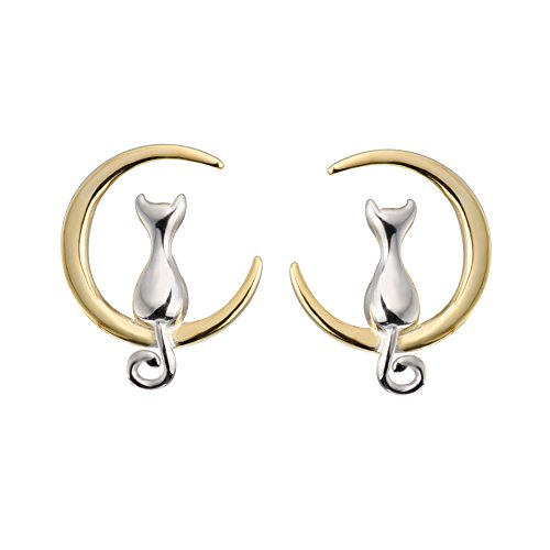 S.Leaf Cat on Moon Stud Earrings Sterling Silver Crescent Moon Cat Earrings Cat Lovers Gift (silver and gold) ()