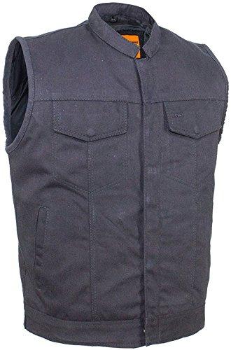 Mens Black Denim Motorcycle Vest With Zipper & Button Snap Front - Sunglasses Club Jeans