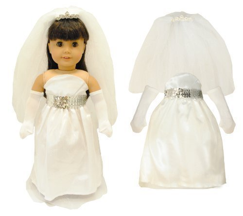 (Pink Butterfly Closet Doll Clothes - White Bridal and Communion Dress fits American Girl Dolls, Madame Alexander and Other 18