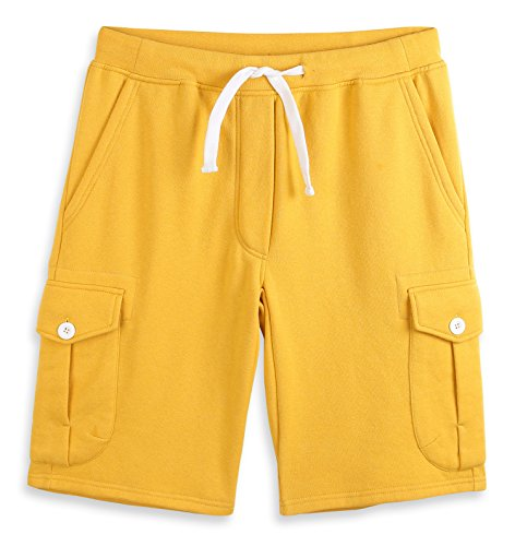 (HARBETH Men's Classic-Fit 5-Pockets Cargo Short Cotton Elastic Fleece Gym Shorts Apricot Gold M)