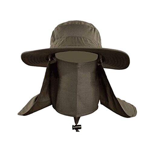 Grateshop1 Nylon Taslon Camouflage Sports Outdoor Sun Protection Hat Quick Drying Wide Brim Cap Neck Face Cover ()