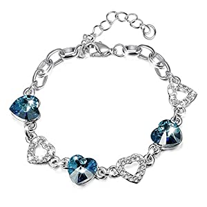 KesaPlan Heart Crystal Bracelet for Women Girls, Made with Swarovski Crystals, Mother's Day Jewelry Gift with Extender…
