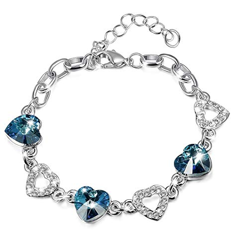 KesaPlan Heart Crystal Bracelet for Women Girls, Made with Swarovski Crystals, Mother's Day Jewelry Gift with Extender Chain