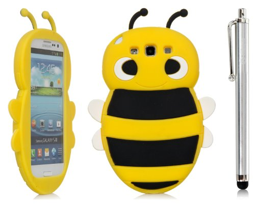 iSee Case Cartoon Bumble Bee Silicone Full Cover Case SAMSUNG GALAXY S III 3 S3 Free iSeeCase Stylus (S3-Bee Yellow+Stylus), Best Gadgets
