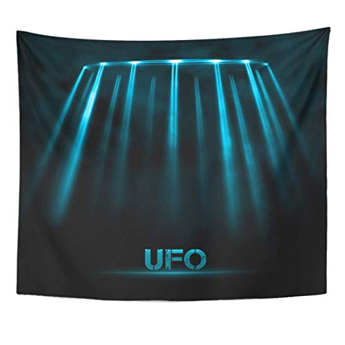 (COLORFULSKY Tapestry Flying Black Spaceship Abstract UFO 10 Blue Light Space Saucer Dark Home Decor Wall Hanging for Living Room Bedroom Dorm 60X50 Inches)