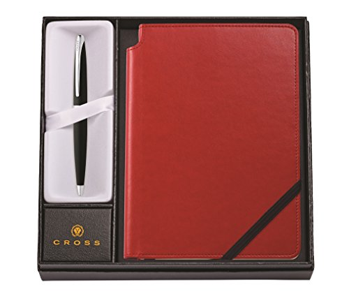 Cross ATX Basalt Black Ballpoint Pen & Medium Crimson Journal