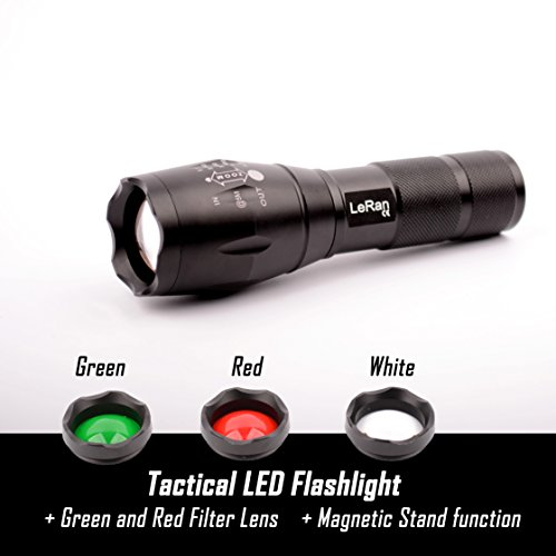 LeRan Cree T6 LED Flashlight, White, Green, Red Filter Lens, Magnetic Tail Switch For Convenient Stand, Aluminium-alloy Housing, 1x18650 or 3xAAA Batteries - Lens Green Filter