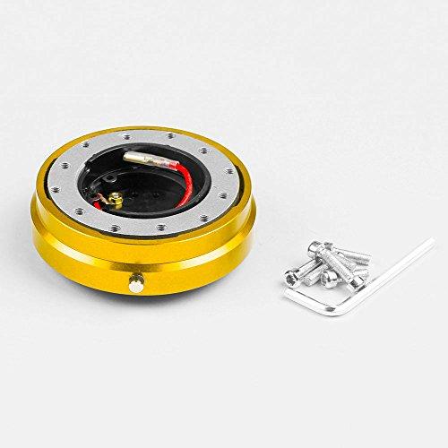 (BEESCLOVER Quick Release Splined Hub Adapter Kit Snap Off Racing Titanium Steering Wheel Golden)