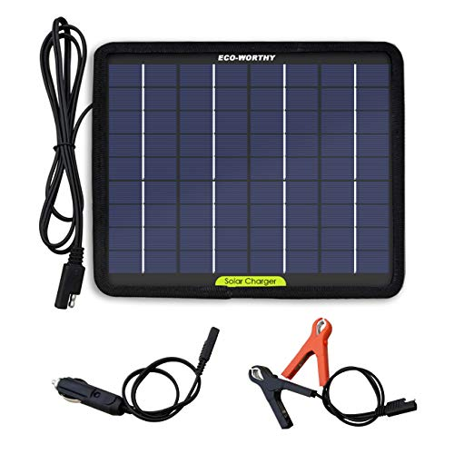 ECO-WORTHY 12 Volts 5 Watts Portable Power Solar Panel Battery Charger Backup for Car Boat Batteries (Best Solar Battery Maintainer)