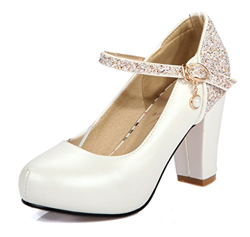 Aisun Womens Stylish Sequined Round Toe Dress Buckled High Block Heels Pumps Shoes With Ankle Strap White