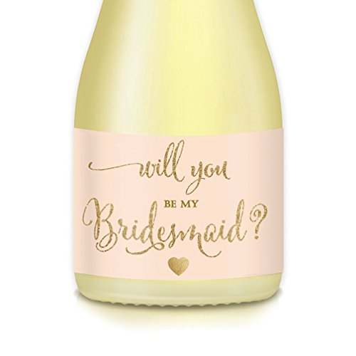 Will You Be My Bridesmaid? Set of 10 Wedding Party Proposal Labels for Mini Champagne Bottles, Ask Maid Matron of Honor, Peach Gold 3.5