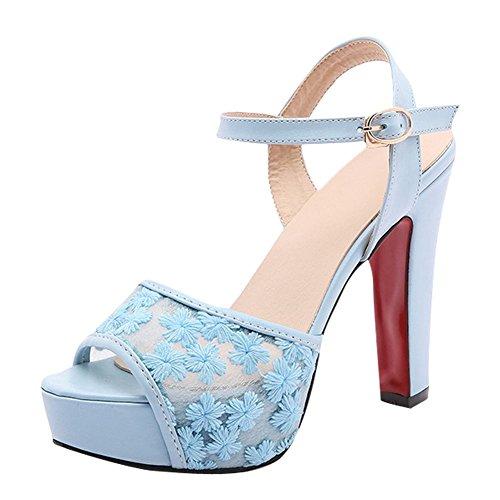 Mee Shoes Women's Charm Block High Heel Buckle Sandals Blue