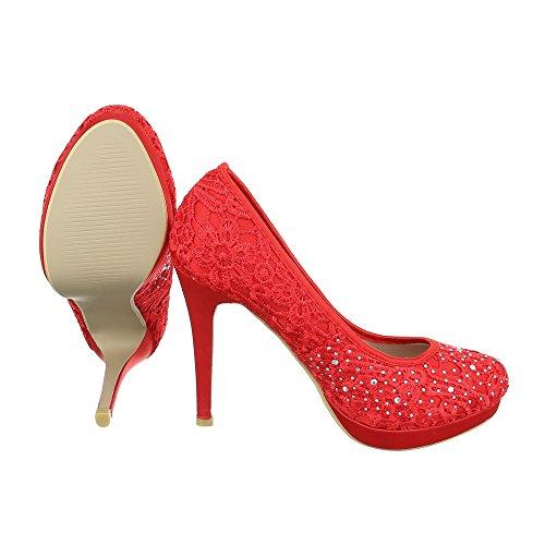Ital-Design High Heel Damenschuhe Plateau Pfennig-/Stilettoabsatz High Heels Pumps Rot KF69-05J
