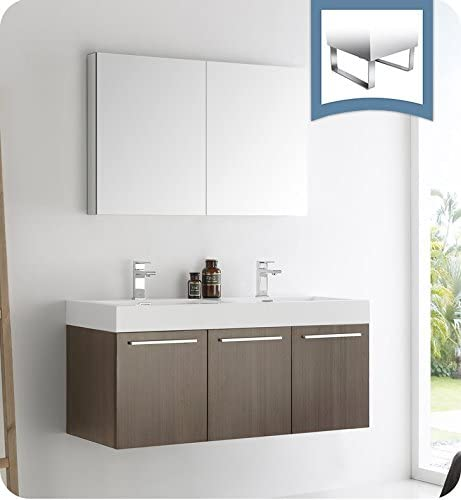 Fresca Vista 48″ Gray Oak Wall Hung Double Sink Modern Bathroom Vanity w/Medicine Cabinet