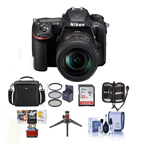 Nikon D500 DX-format DSLR Body with AF-S DX NIKKOR 16-80mm f/2.8-4E ED VR Lens – Bundle w/ 32GB SDHC Card, Camera Bag…