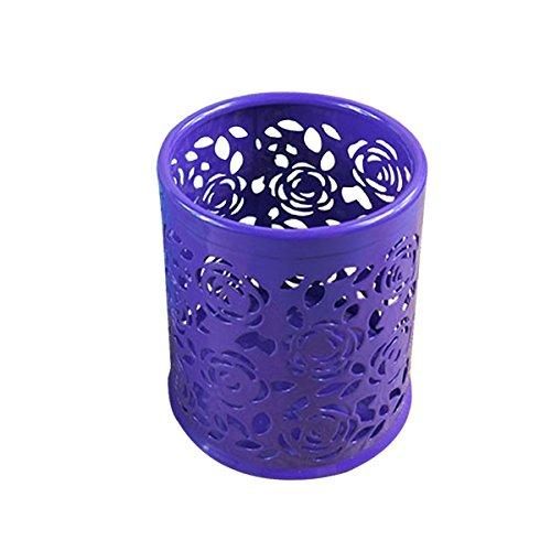 (Saim Multi-Color Hollow Rose Flower Pattern Cylinder Pen Pencil Pot Holder Container Organizer (Purple))