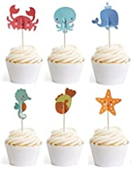 Ocean Sea Animal Creature Fish Starfish Whale Octopus Crab Sea Horse Cake Cupcake Topper Picks For Party Decorations, 24 Counts By Bilipala
