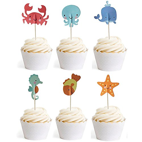 Ocean Sea Animal Creature Fish Starfish Whale Octopus Crab Sea Horse Cake Cupcake Topper Picks For Party Decorations, 24 Counts By Bilipala -