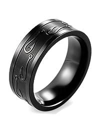 SHARDON Men's 8mm Black Titanium Ring with Egraved Fishhook