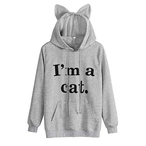 Letter Print Cat Ear Hooded Sweatshirt Pullover Tops Blouse(4XL,Gray) ()
