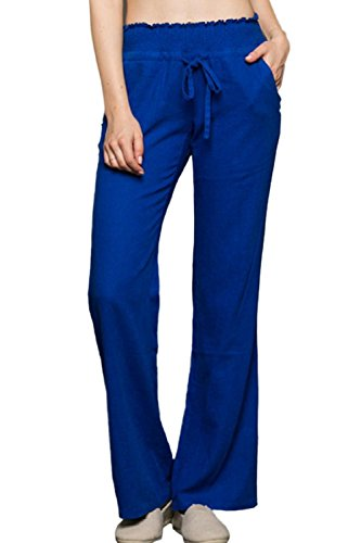 Sportoli Women's Comfy Drawstring Smocked Waist Linen Pants with Pockets - Royal Blue (Small) (Gauze Beach Pant)