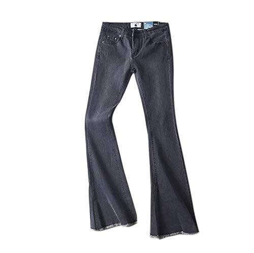 Keephen Pantalones de Mezclilla Vintage para Mujeres Pantalones de Cintura Elástica Suave Alta Pantalones Acampanados Delgados Gris Claro