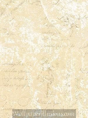 Paper Illusion Wallpaper 8 by 10-inch Sample, Pearl and Cream Script