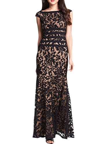 Azbro Mujer Cap Sleeve Floral de encaje de noche Maxi vestido de dama Rosado