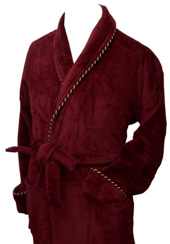 Burgund Earl Cotton Velour Schlafrock von Bown of London