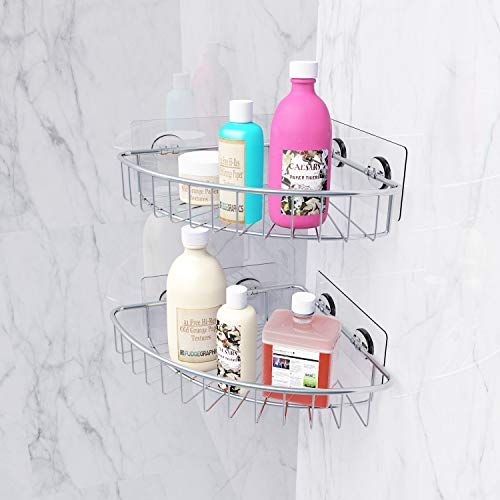 SMARTAKE 2-Pack Corner Shower Caddy, SUS304 Stainless Steel, Wall Mounted Bathroom Shelf with Adhesive, Storage Organizer for Toilet, Dorm and Kitchen by SMARTAKE (Image #3)