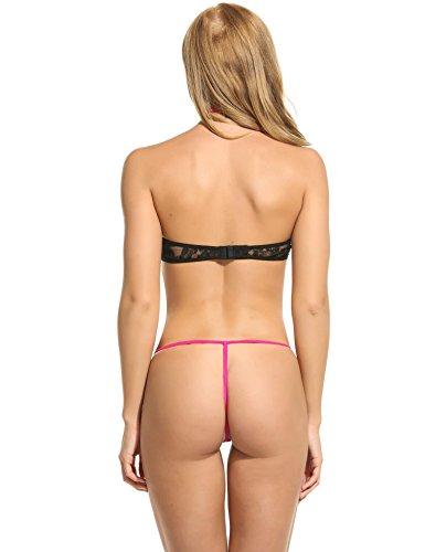 ZEARO Damen Negligees Sexy Dessous Bodycon Unterwäsche mit Hohle Spitze Bogen Schwarz QJqXm