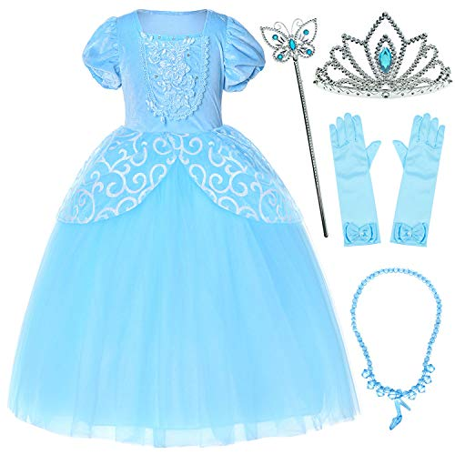9-Layers Tulle Skirt Princess Cinderella Costume Girls Dress Up with Accessories 7T 8T ()