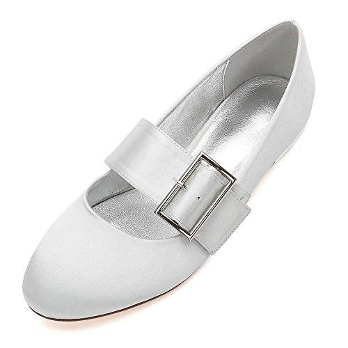Hochzeit YC Ferse Schuhe Silber Satin L 5049 Flache Hochzeit Pumps Gericht Schuhe Schnalle Closed Toe Frauen 23 Kleid FRnWpfWwUO