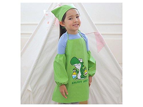 Gelaiken Perfect Cartoon Animal Dinosaur Printed Suit Apron Two Arm Sleeves Cuffs One Head Scarf Kid(Green)