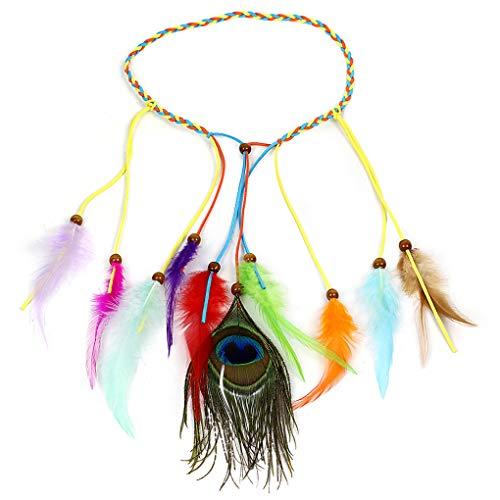 Peacock Feather Leaf Tassels Hemp Rope Braided Hippie Headband for Women Girls Weave Headpieces Bohemia Tribal ()