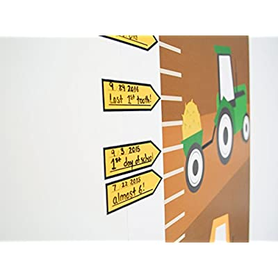 Growth Chart For Kids - Tractors Growth Chart Decal - Height Chart For Kids Vinyl Decal - Construction Nursery Wall Decor - Height Measurement For Kids - Kids Height Wall Chart: Home & Kitchen
