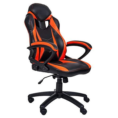 MIERES Gaming Racing Office High Back Computer Desk PU Leather Executive and Ergonomic Adjustable Swivel Chair, Orange