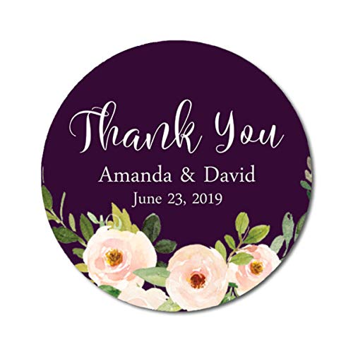 Darling Souvenir Round 45 Pcs Peony Floral Thank You Stickers Personalized Bride Groom Names and Date Envelope Seals-Plum