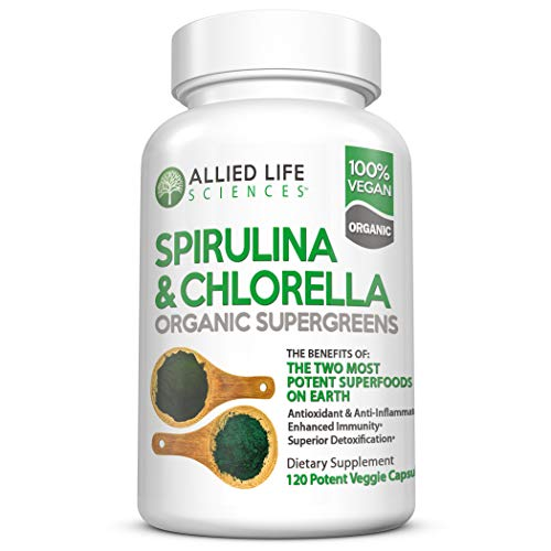 Allied Life Spirulina and Chlorella | Organic Chlorophyll Vegan Protein Powder Green Superfood Capsules | Natural Anti Aging Detox Cleanse (1 pack)